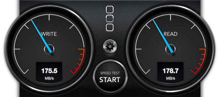 Показания Blackmagic Disk Speed Test после увеличения объёма оперативной памяти